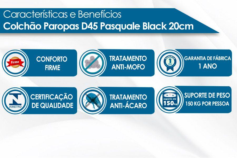 Colchão Paropas D45 Pasquale Black 20cm