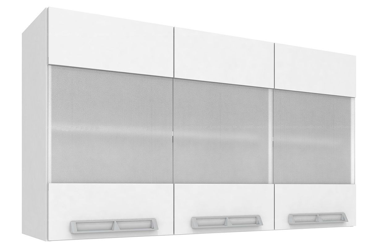 Armario Aéreo Art In Móveis Mia Coccina CZ416 3 Portas Vidro Mini Boreal Temperado 1 PrateleiraCor Branco