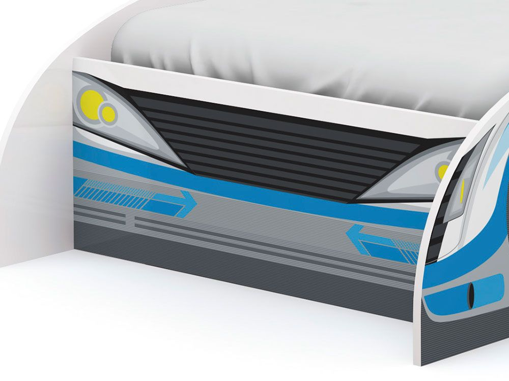 Cama Infantil Kappesberg Carro Azul D300 - Cor Branco c/ Azul
