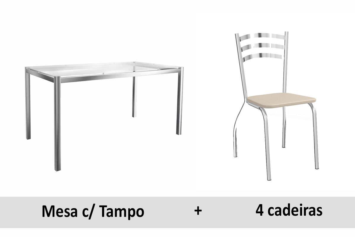 Conjunto de Mesa Kappesberg Reno + 4 Cadeiras Cromada Portugal