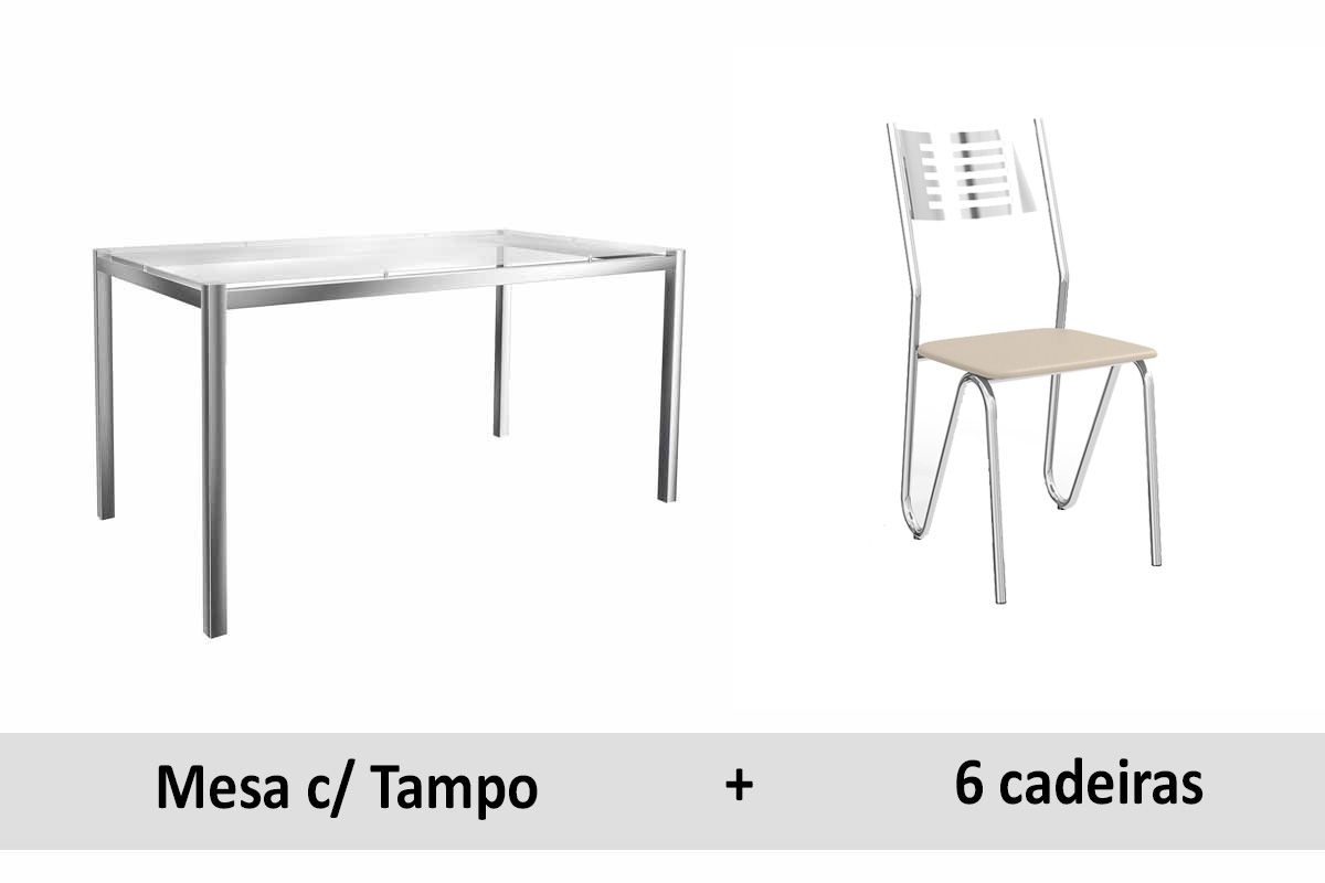 Conjunto de Mesa Kappesberg Reno + 6 Cadeiras Cromada Nápoles