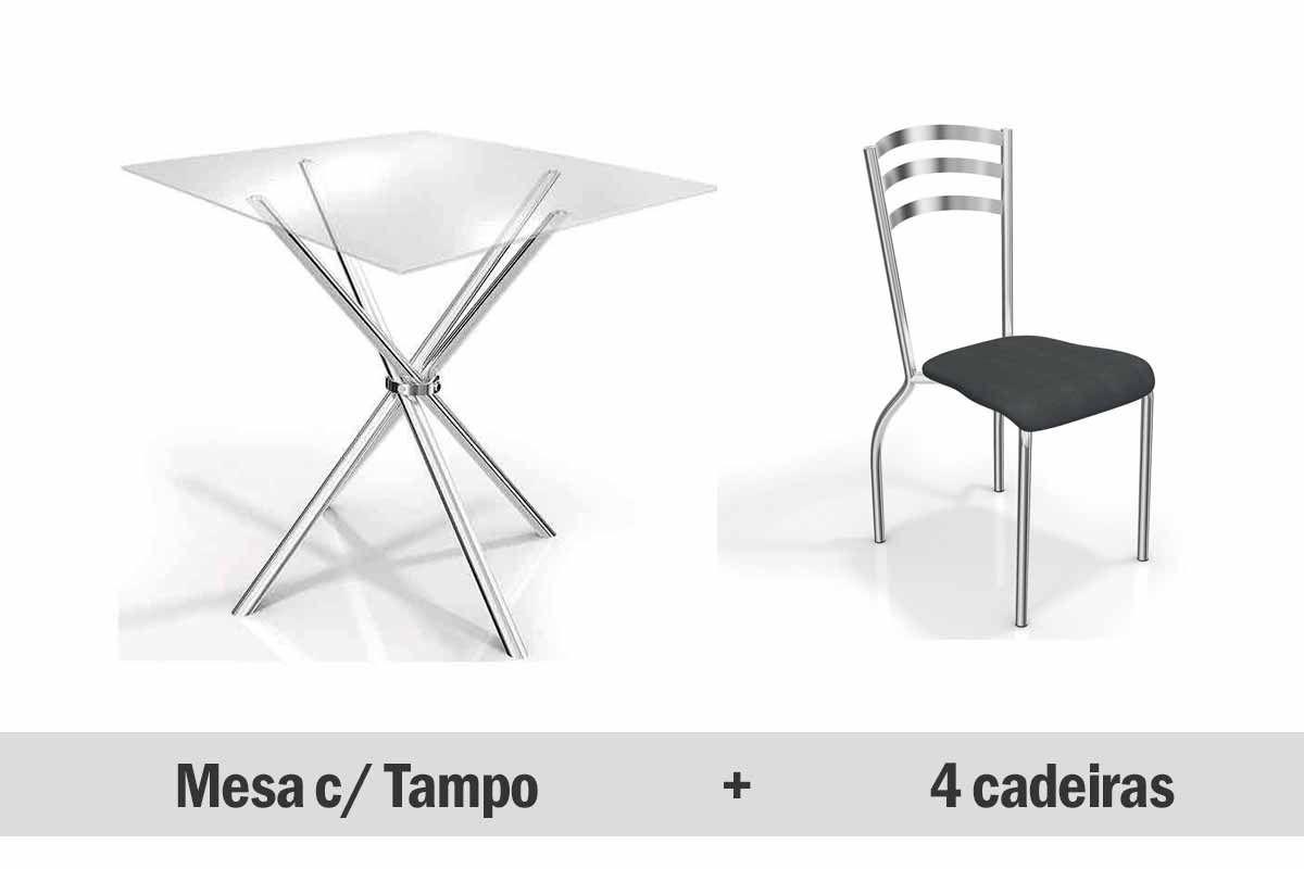 Conjunto de Mesa Kappesberg Volga + 4 Cadeiras Cromadas