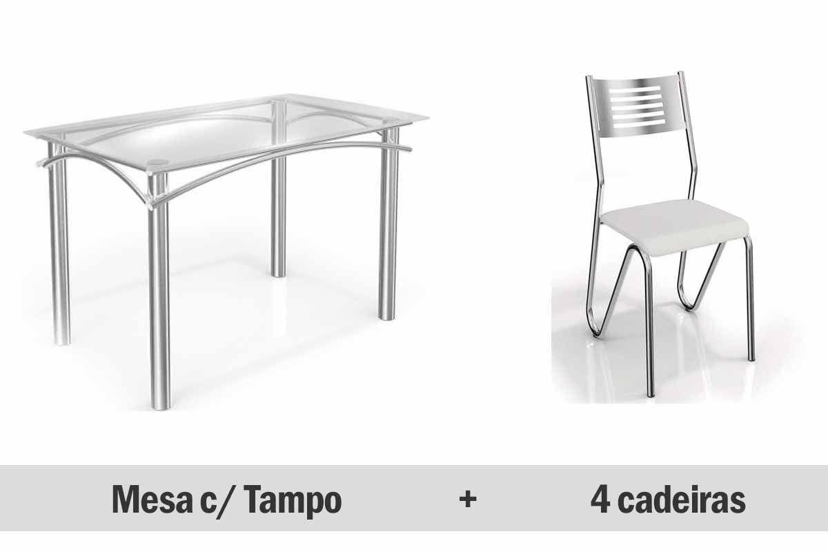 Conjunto de Mesa Kappesberg Elba + 6 Cadeiras Cromada Nápoles
