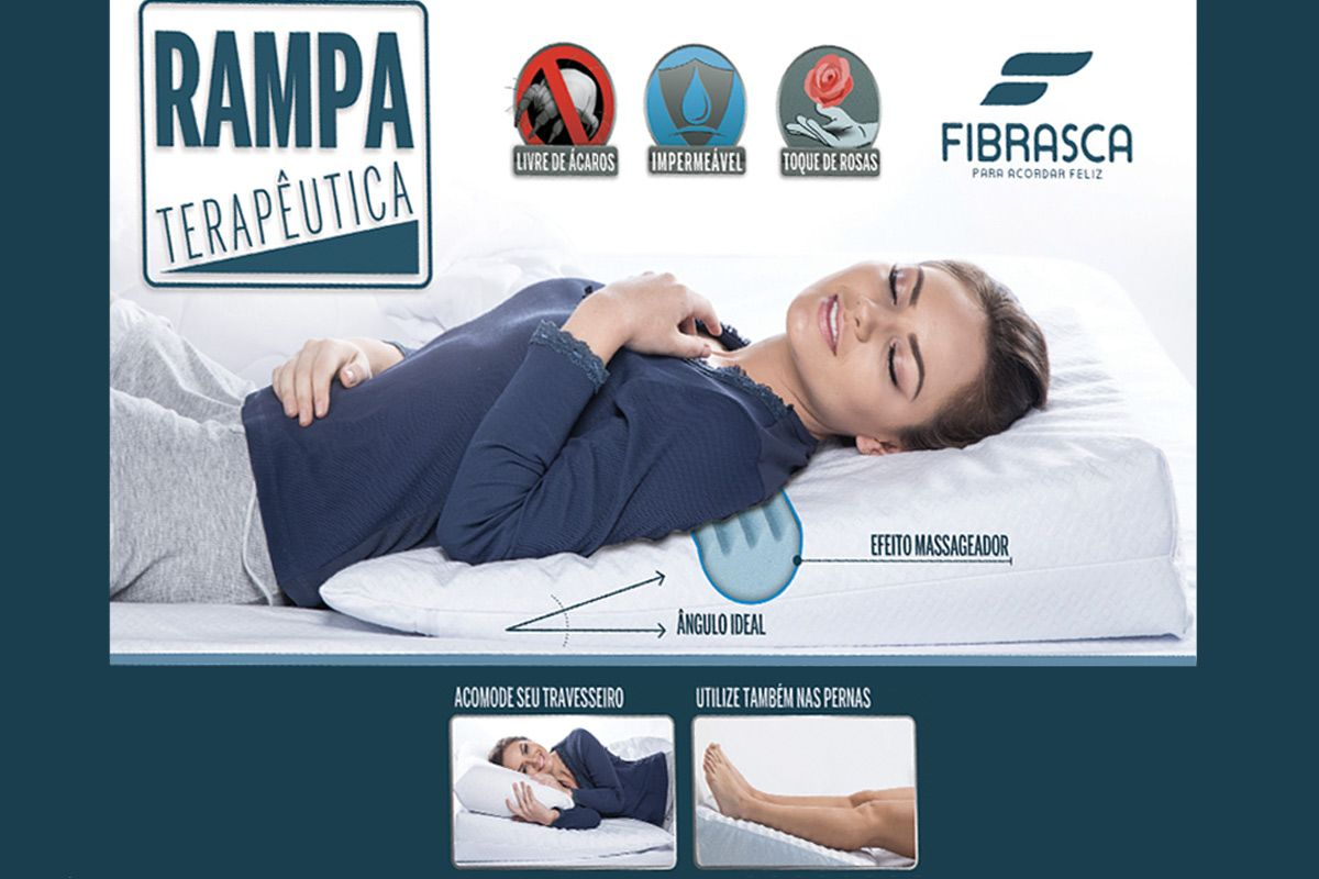 Travesseiro Fibrasca Rampa Terapêutica Anti Refluxo p/ Adultos Impermeável T.Latex