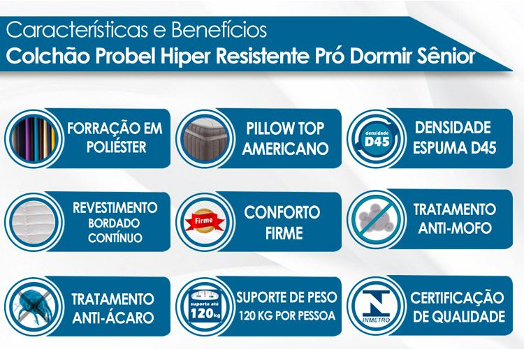 Colchão Probel Espuma D45 Senior Hiper Resistente ProDormir