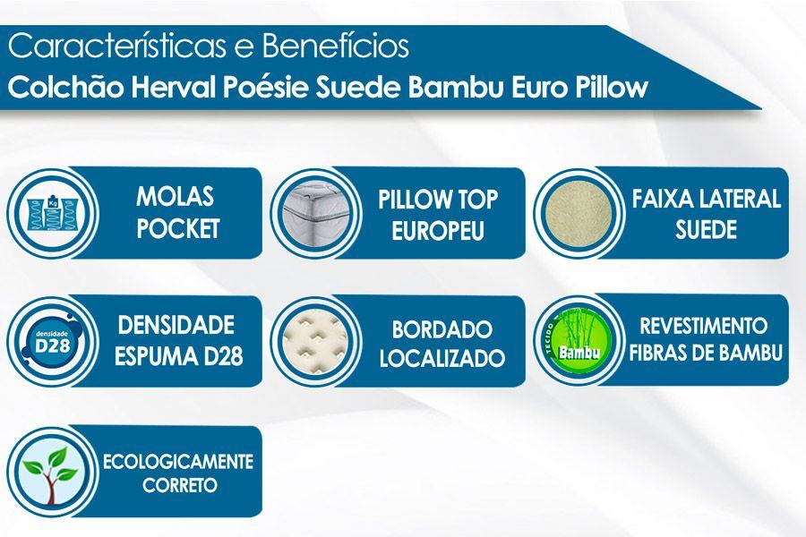 Colchão Herval Molas Pocket Poésie Suede Bambu