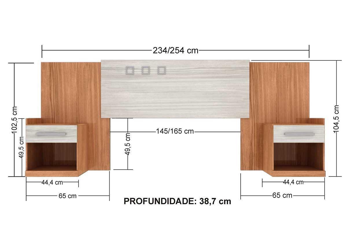 Cabeceira de Cama Box Casal Santos Andirá Havana Plus C/ Criado Cor Branco/Branco