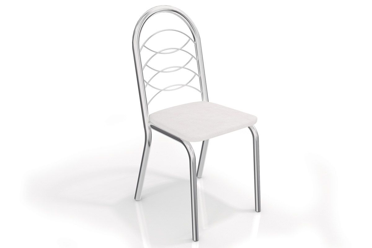 Caixa c/ 2 Cadeiras Kappesberg Holanda 2C009CRCor Cromada  -  Assento Branco 106