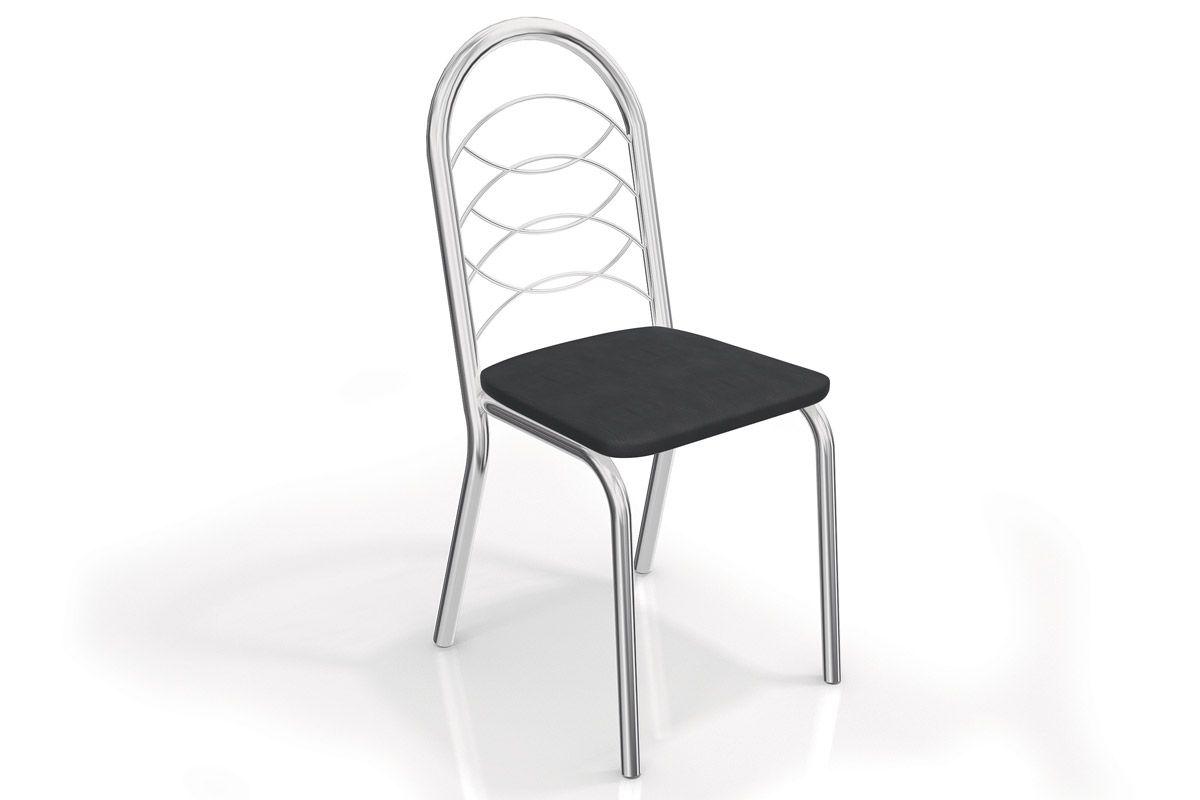 Caixa c/ 2 Cadeiras Kappesberg Holanda 2C009CRCor Cromada  -  Assento Preto 110