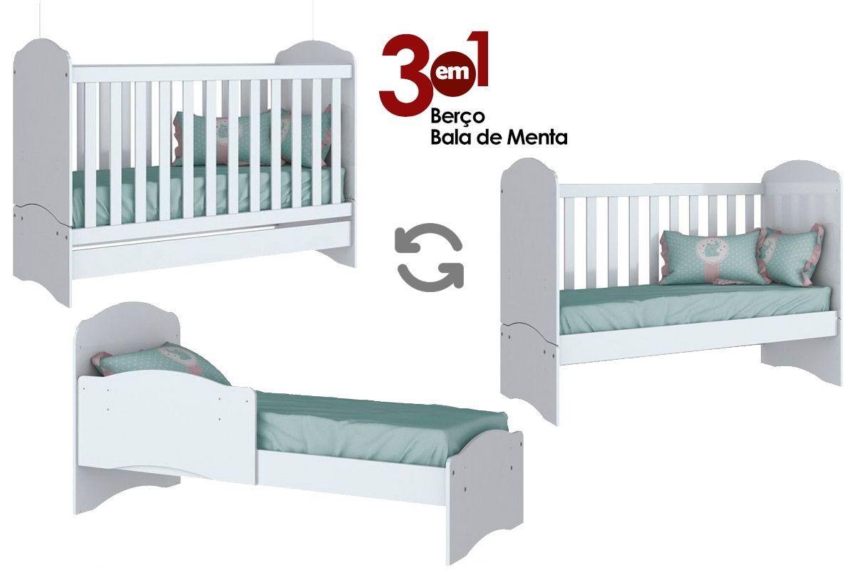 Berço Mini Cama Henn Bala de Menta 3em1