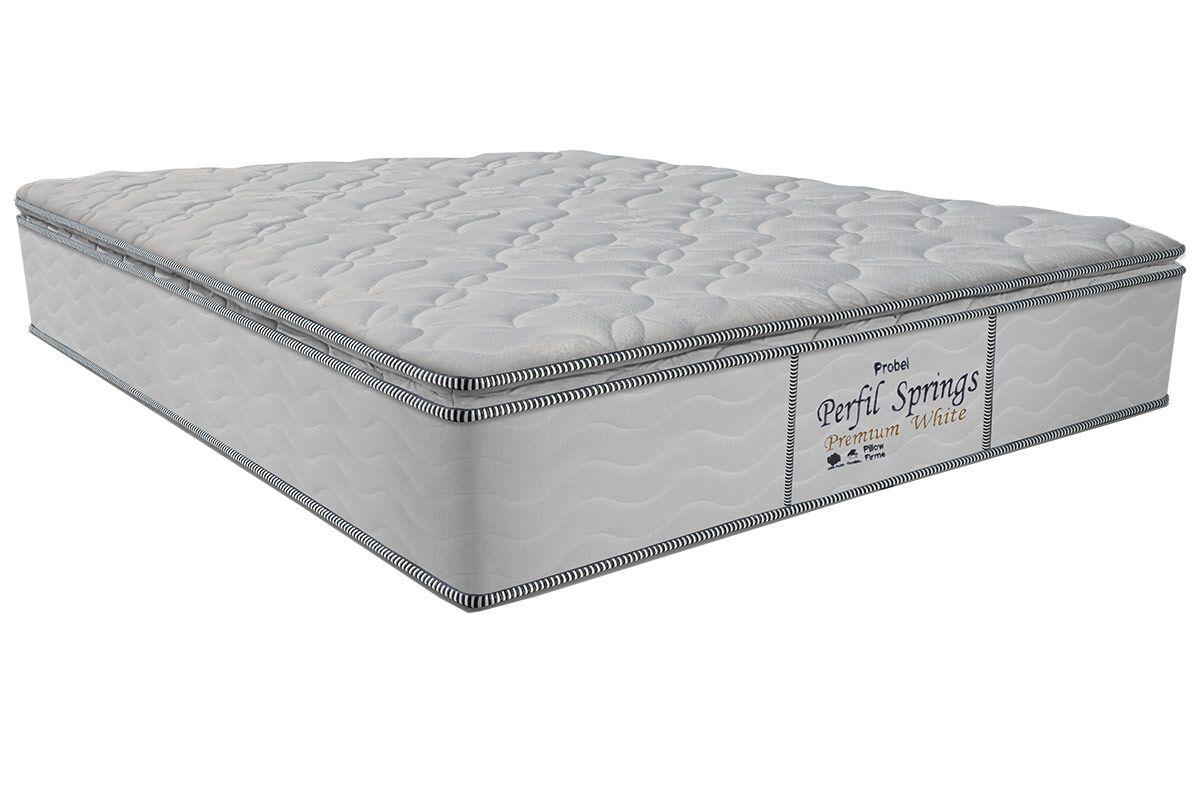 Colchão Probel Molas Pocket Perfil Springs Premium WhiteColchão Casal - 1,38x1,88x0,32 - Sem Cama Box