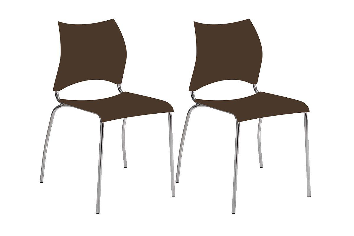 Caixa c/ 2 Cadeiras Carraro 357Cor Cromada - Polipropileno Cacau