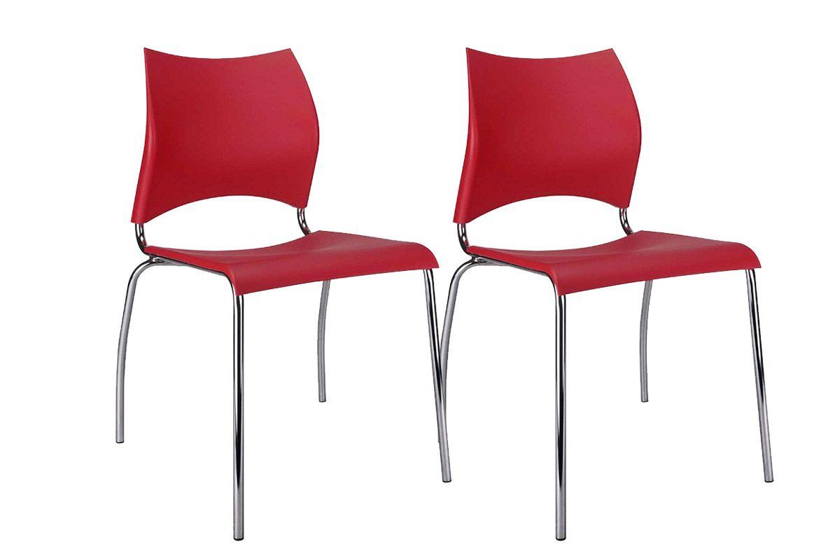 Caixa c/ 2 Cadeiras Carraro 357Cor Cromada  -  Polipropileno Vermelho