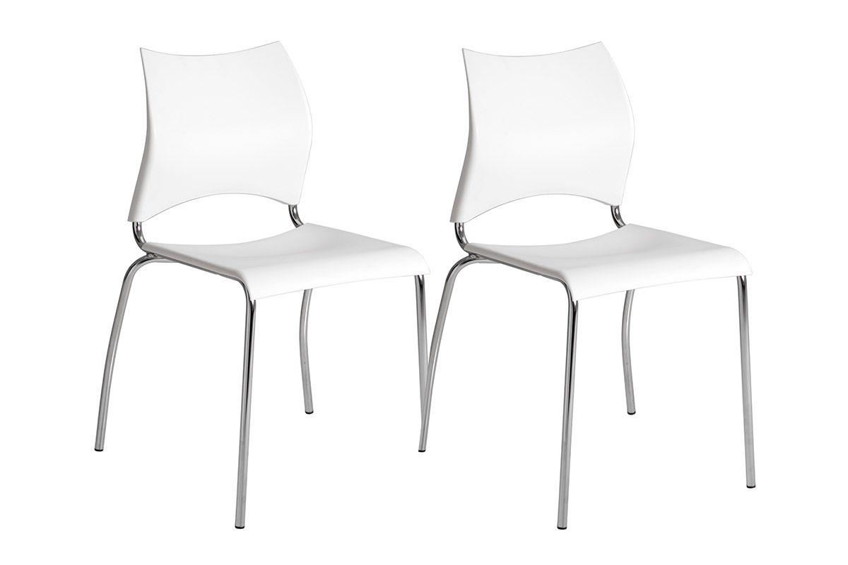 Caixa c/ 2 Cadeiras Carraro 357Cor Cromada  -  Polipropileno Branco
