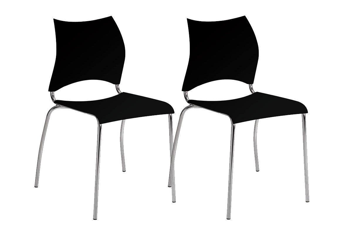 Caixa c/ 2 Cadeiras Carraro 357Cor Cromada  -  Polipropileno Preto
