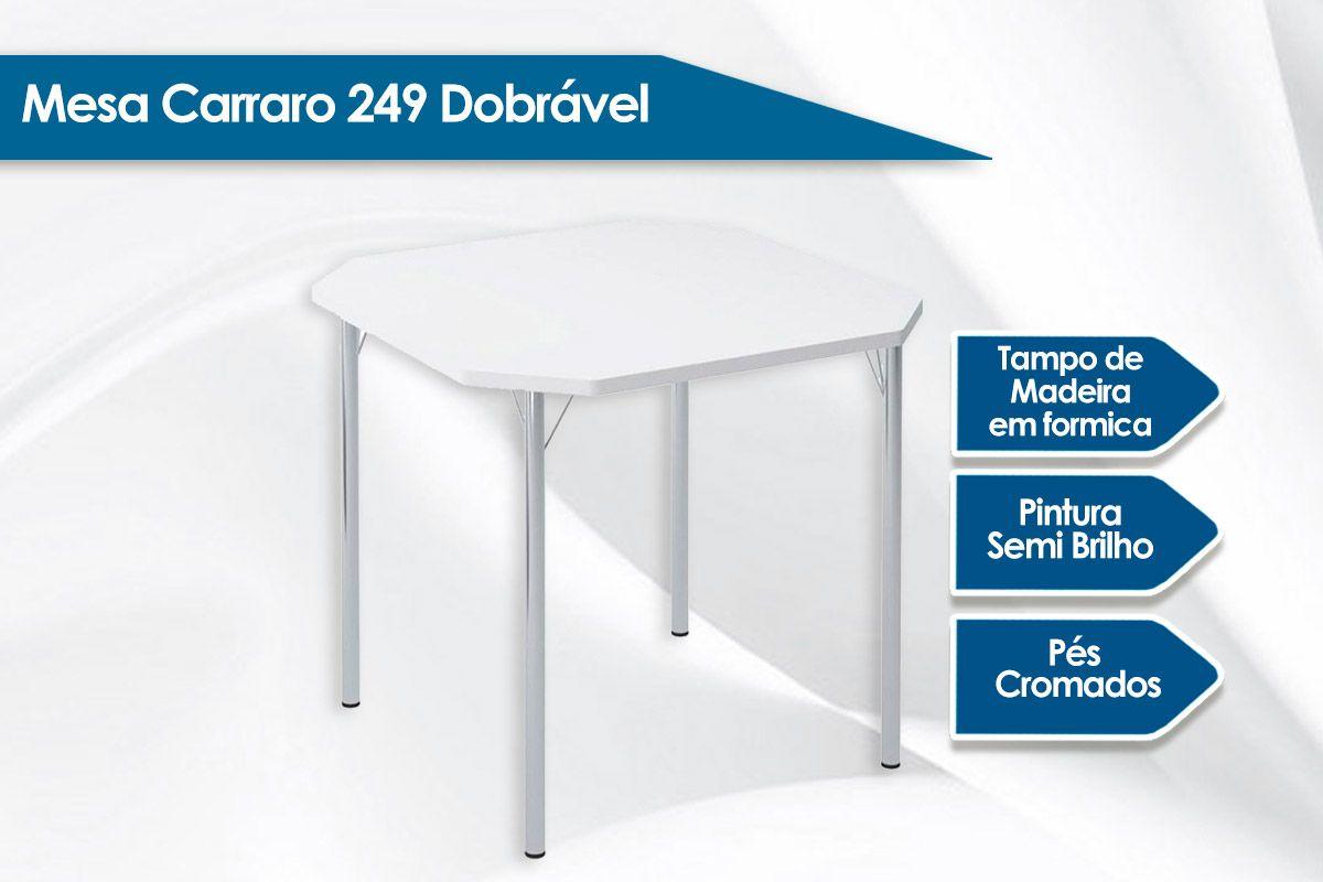 Mesa Carraro 1510 Aço Cromado c/ Tampo Madeirado 77x86cm
