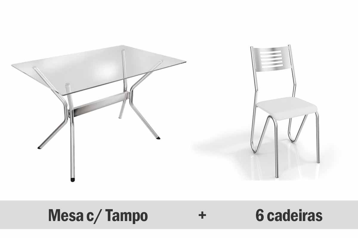 Conjunto de Mesa Kappesberg Loire + 6 Cadeiras Cromada Nápoles