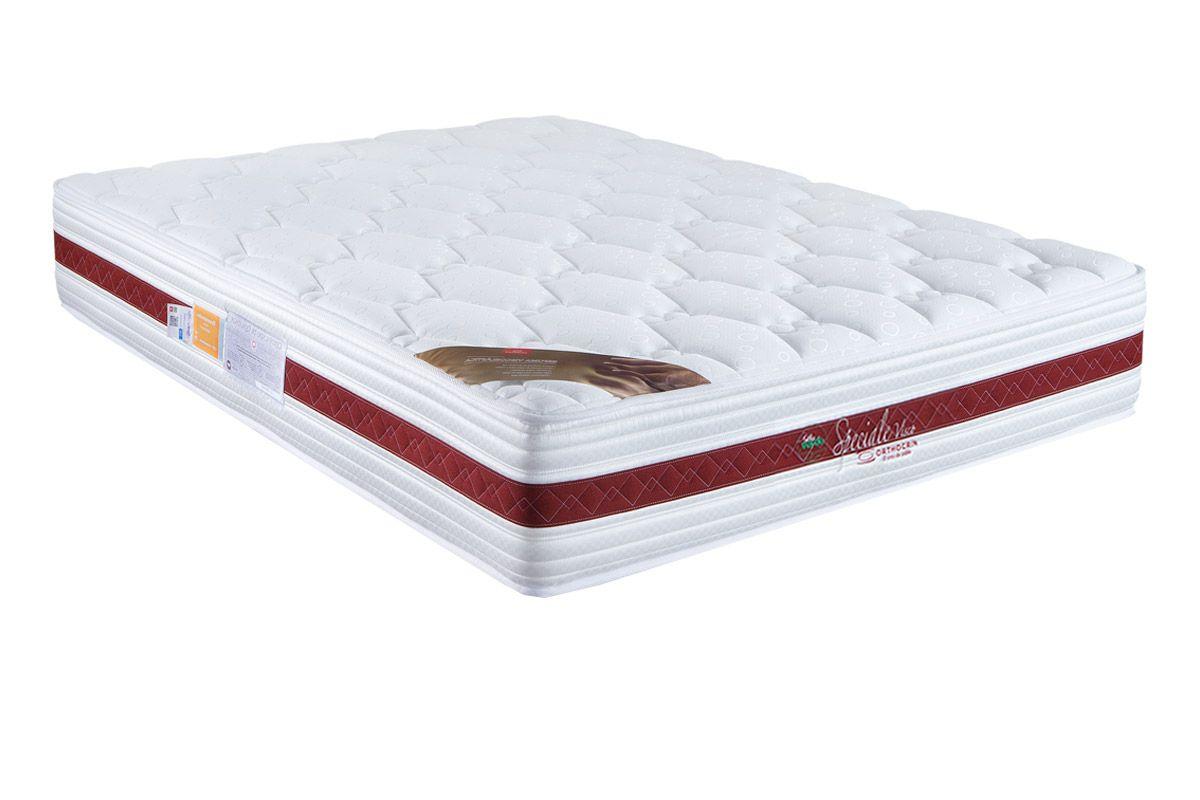 Colchão Orthocrin Molas Pocket Speciale WhiteColchão Queen Size - 1,58x1,98x0,28  - Sem Cam Box