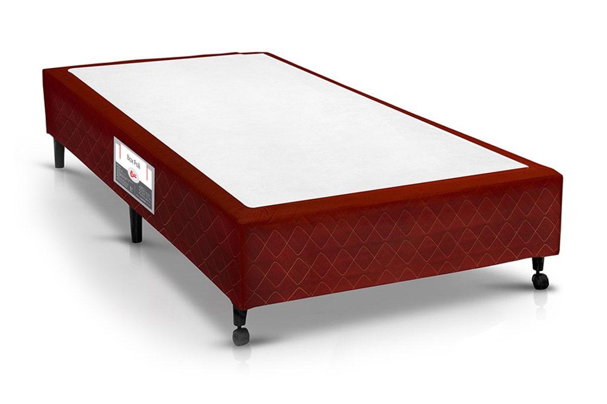 Cama Box Castor Poli VinhoCama Box Solteiro - 0,88x1,88x0,23 - Sem Colchão