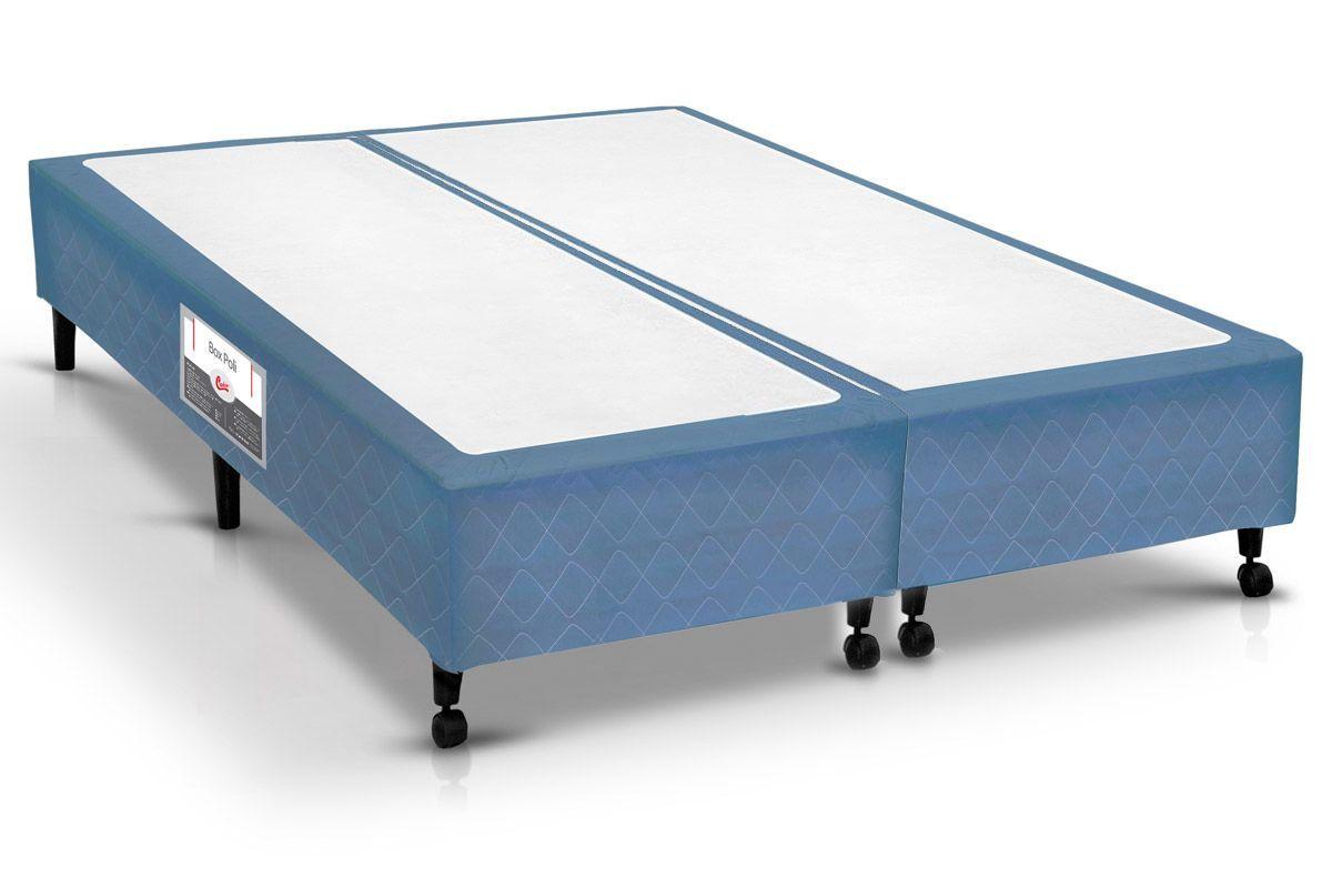 Cama Box Castor Poli AzulCama Box King Size - 1,93x2,03x0,23 - Sem Colchão