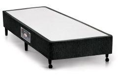 Cama Box Base Castor Lux Chenile Black - Cama Box Solteiro - 0,88x1,88x0,23 - Sem Colchão