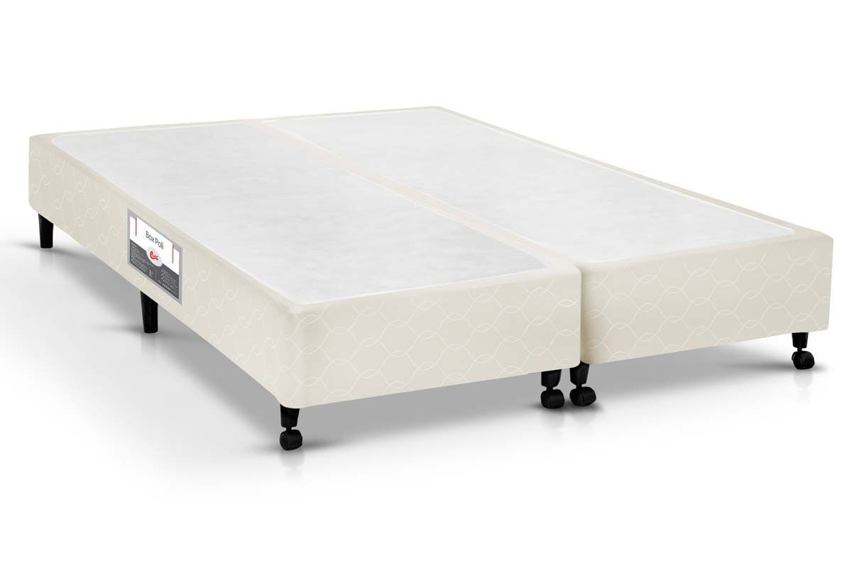 Cama Box Castor SI Poli BegeCama Box King Size - 1,93x2,03x0,23 - Sem Colchão