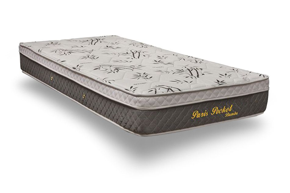 Colchão Herval Molas Pocket Paris BambuColchão Solteiro - 0,88x1,88x0,22 - Sem Cama Box