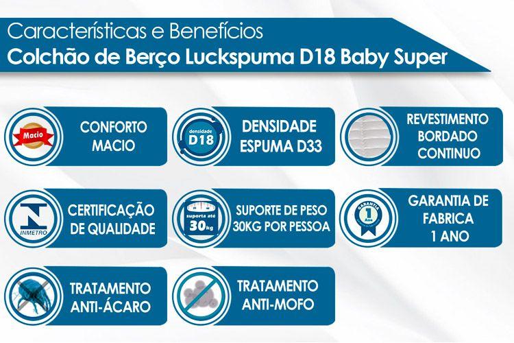 Colchão Berço Luckspuma Anti-Refluxo D18 Baby Super Selado