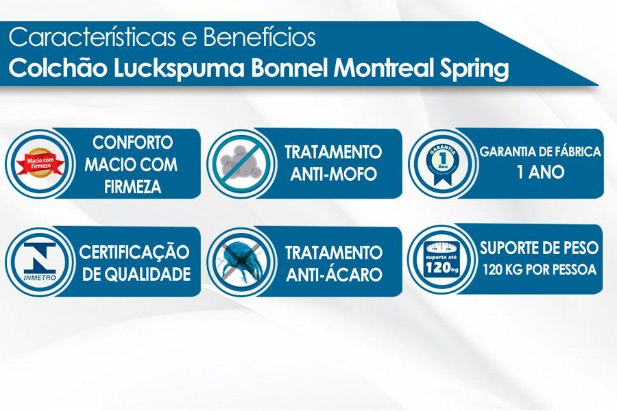 Colchão Luckspuma Molas Bonnel Montreal Spring