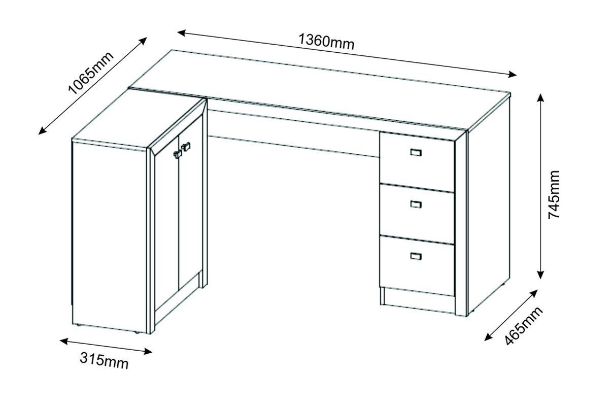 Mesa p escrit rio tecno mobili me 4100 cor branco for Medidas mesa escritorio