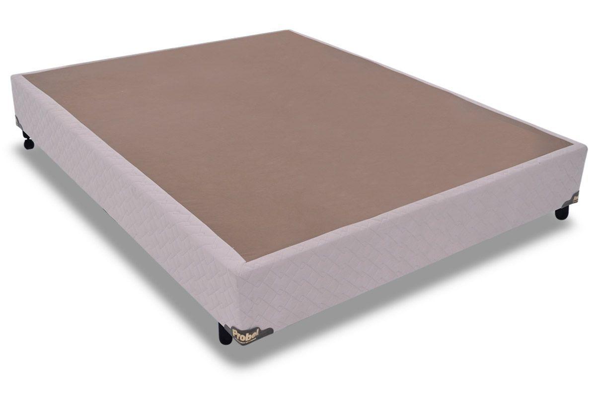 Cama Box Base Probel Suede MarfimCama Box Casal - 1,28x1,88x0,25 - Sem Colchão