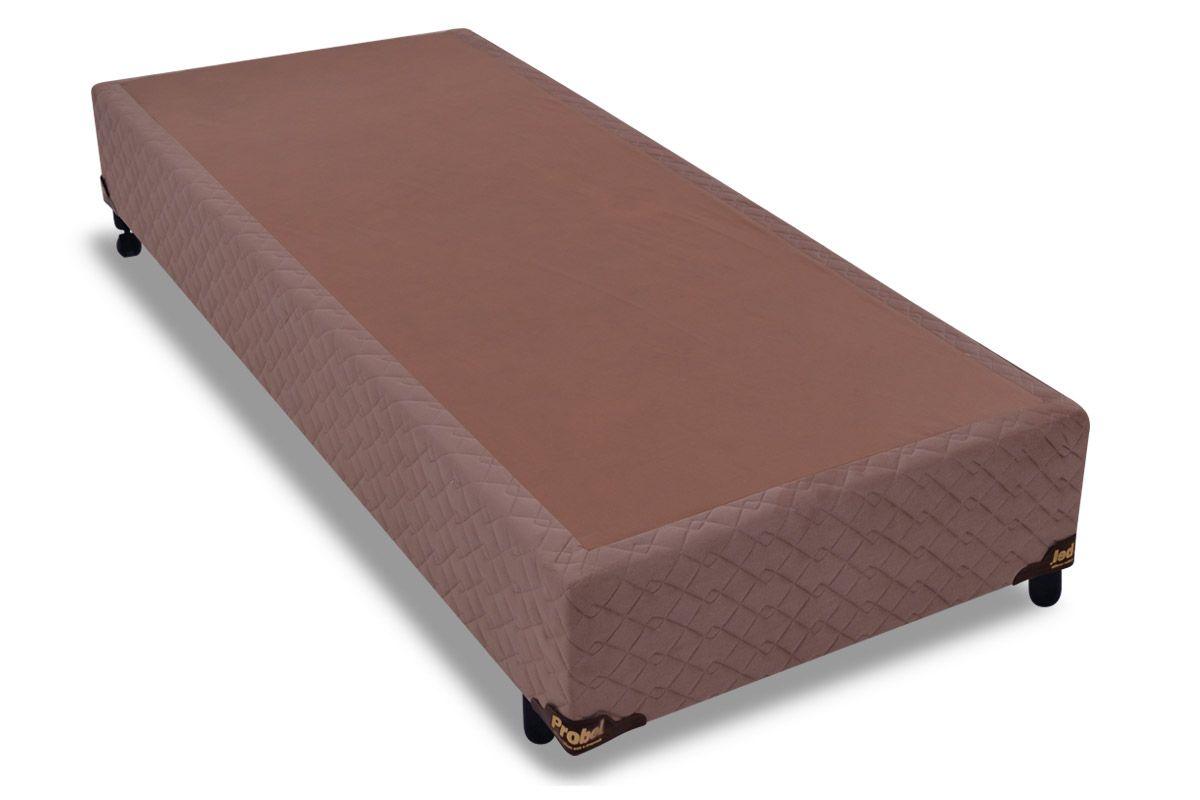 Cama Box Base Probel Suede CamurçaCama Box Solteiro - 0,88x1,88x0,25 - Sem Colchão