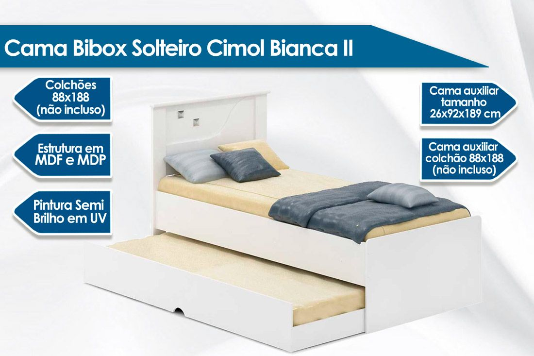 Cama Bibox Solteiro Cimol Bianca II