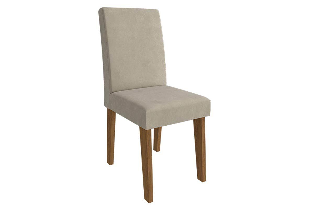 Cadeira Cimol MilenaCor Cedro/Novo Savana  -  Assento/Encosto Sued Bege