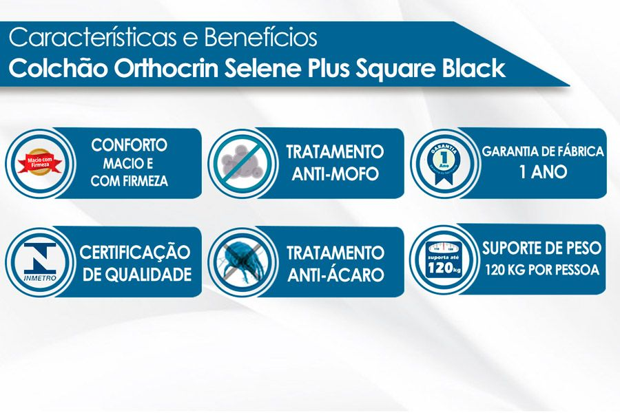 Colchão Orthocrin Molas Superlastic Selene Plus Square Black