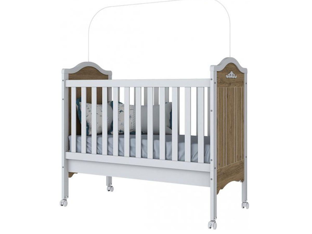 Berço Mini Cama Infantil Henn ProvençalCor Rústico/Branco HP