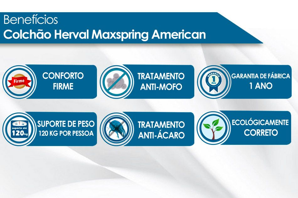 Colchão Herval Molas Maxspring American - Colchão Casal - 1,38x1,88x0,33 - Sem Cama Box