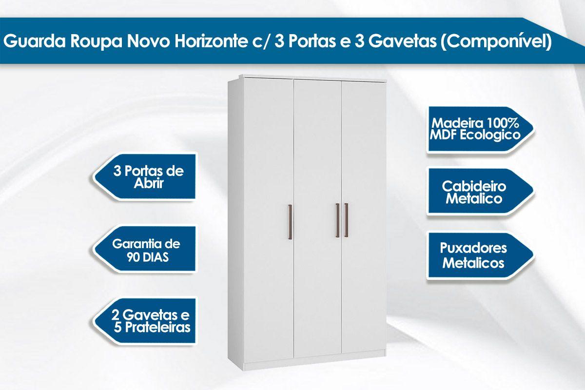 Guarda Roupa / Roupeiro Novo Horizonte c/ 3 Portas (componível)