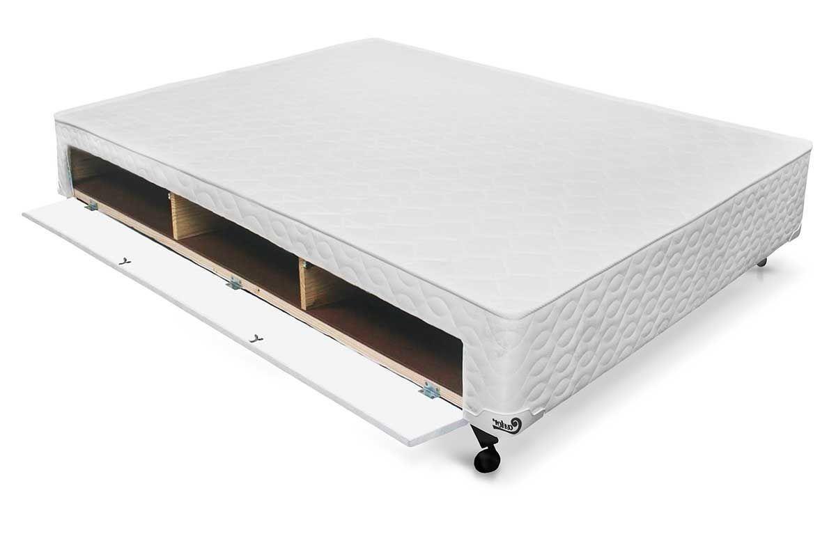 Cama Box Base Castor Closet Poli Tecido WhiteCama Box Casal - 1,38x1,88x0,23 - Sem Colchão