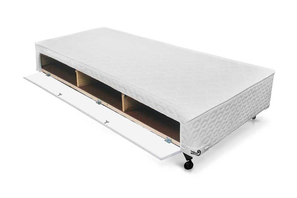 Cama Box Base Castor Closet Poli Tecido WhiteCama Box Solteiro - 0,88x1,88x0,23 - Sem Colchão