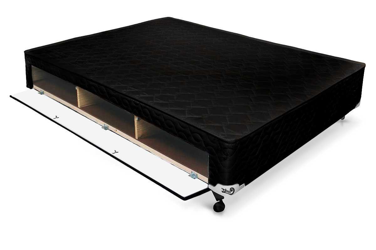 Cama Box Base Castor Closet Poli Tecido BlackCama Box Casal - 1,28x1,88x0,23 - Sem Colchão