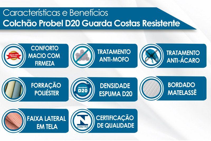 Colchão Probel Espuma D20 Guarda Costas Resistente