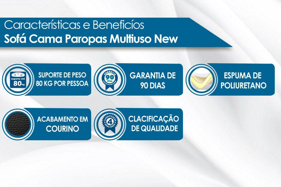 Sofá Cama Paropas Multiuso New Solteiro Extra