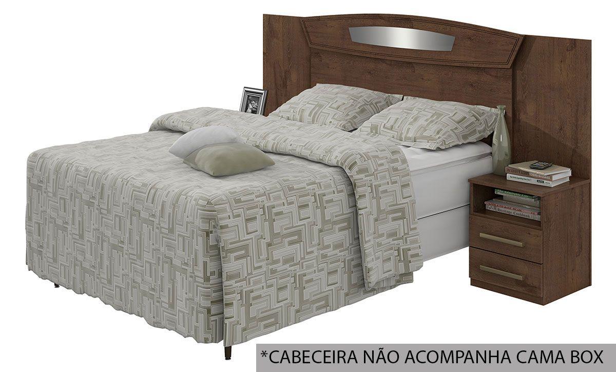 Cabeceira Cama Box Reversivel Casal/Queen Lopas Novita Bronze 140/160 com Criado MudoCor Imbuia Soft