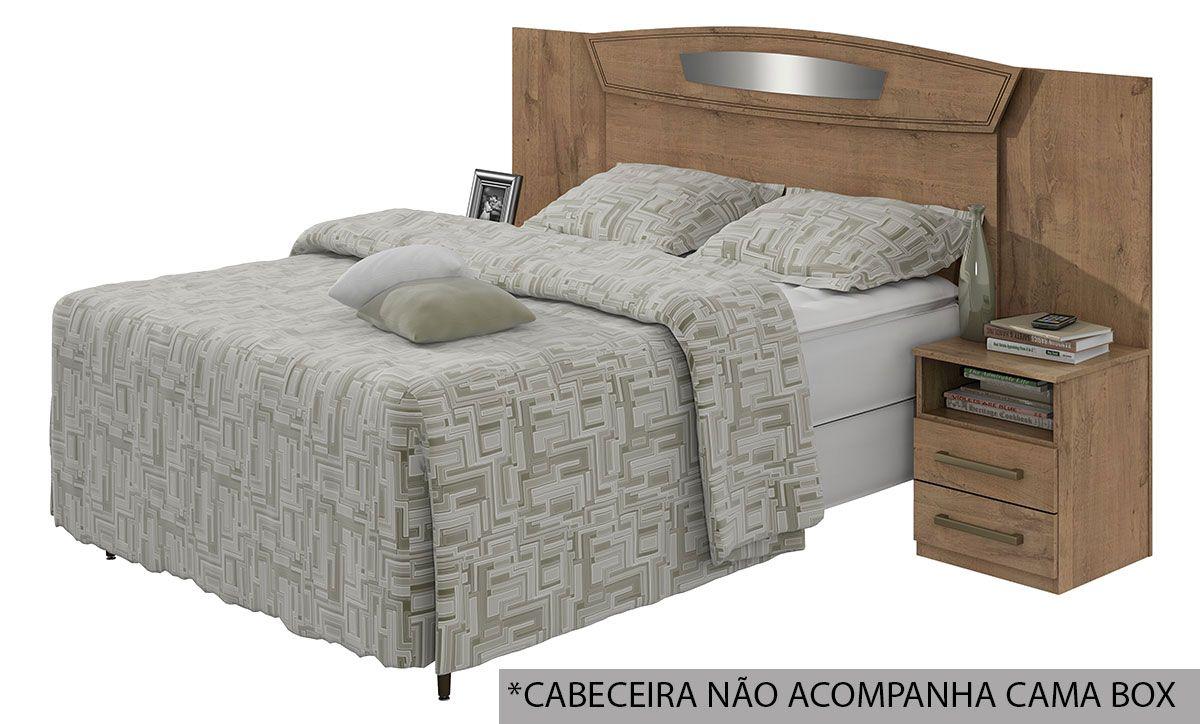 Cabeceira Cama Box Reversivel Casal/Queen Lopas Novita Bronze 140/160 com Criado MudoCor Carvalho Naturale