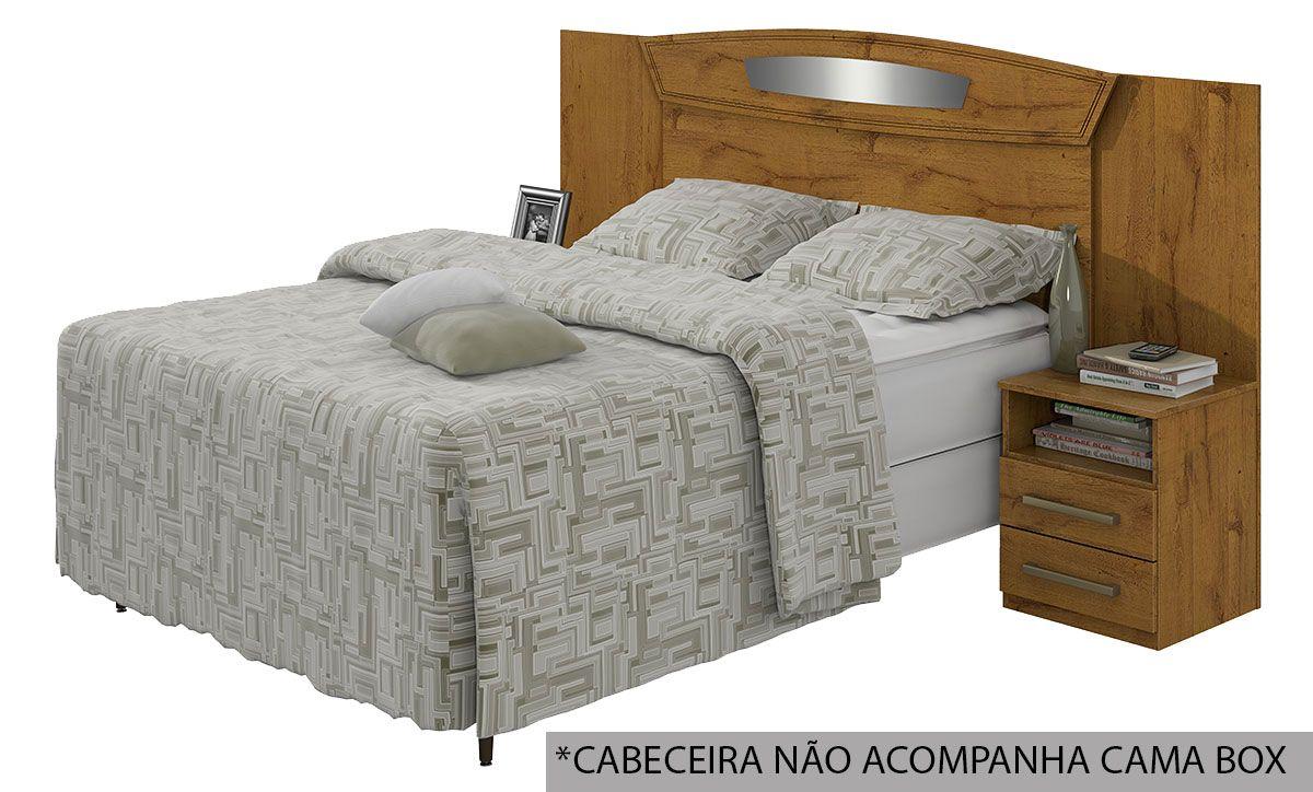 Cabeceira Cama Box Reversivel Casal/Queen Lopas Novita Bronze 140/160 com Criado MudoRovere Naturale