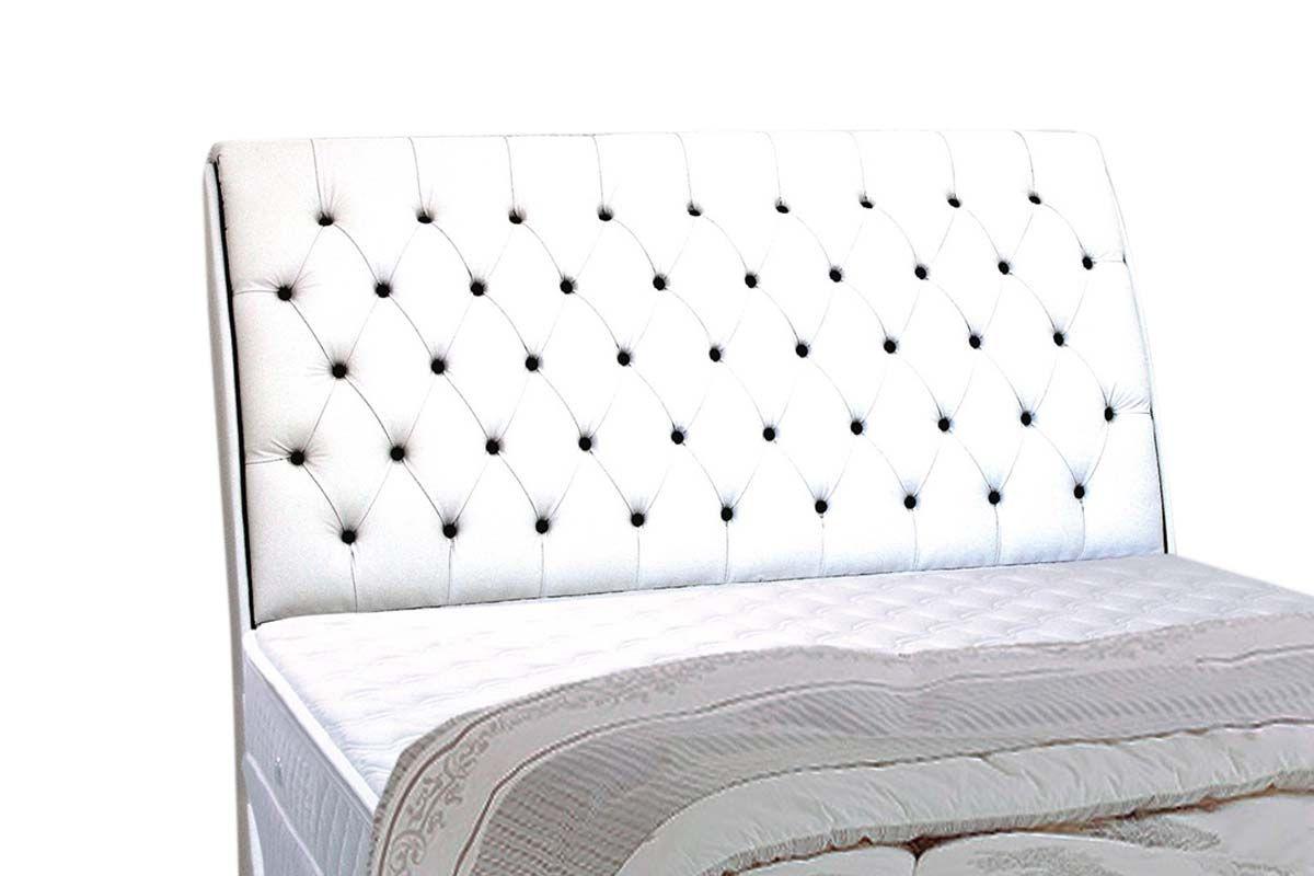 Cabeceira Cama Box MB Veranda Color -  0,88 Solteiro  -  Revestimento Branco c/ Botão Preto (Color) 0,88 Solteiro  -  Revestimento Branco c/ Botão Preto (Color)
