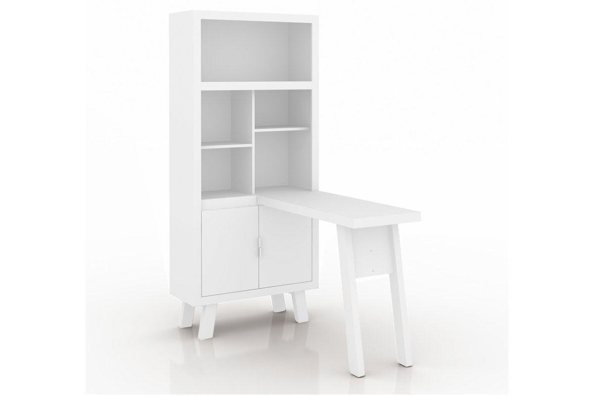 Armário Escrivaninha Tecno Mobili ME-4125 - Cor Branco c/ Pés BrancoCor Branco c/ Pés Branco