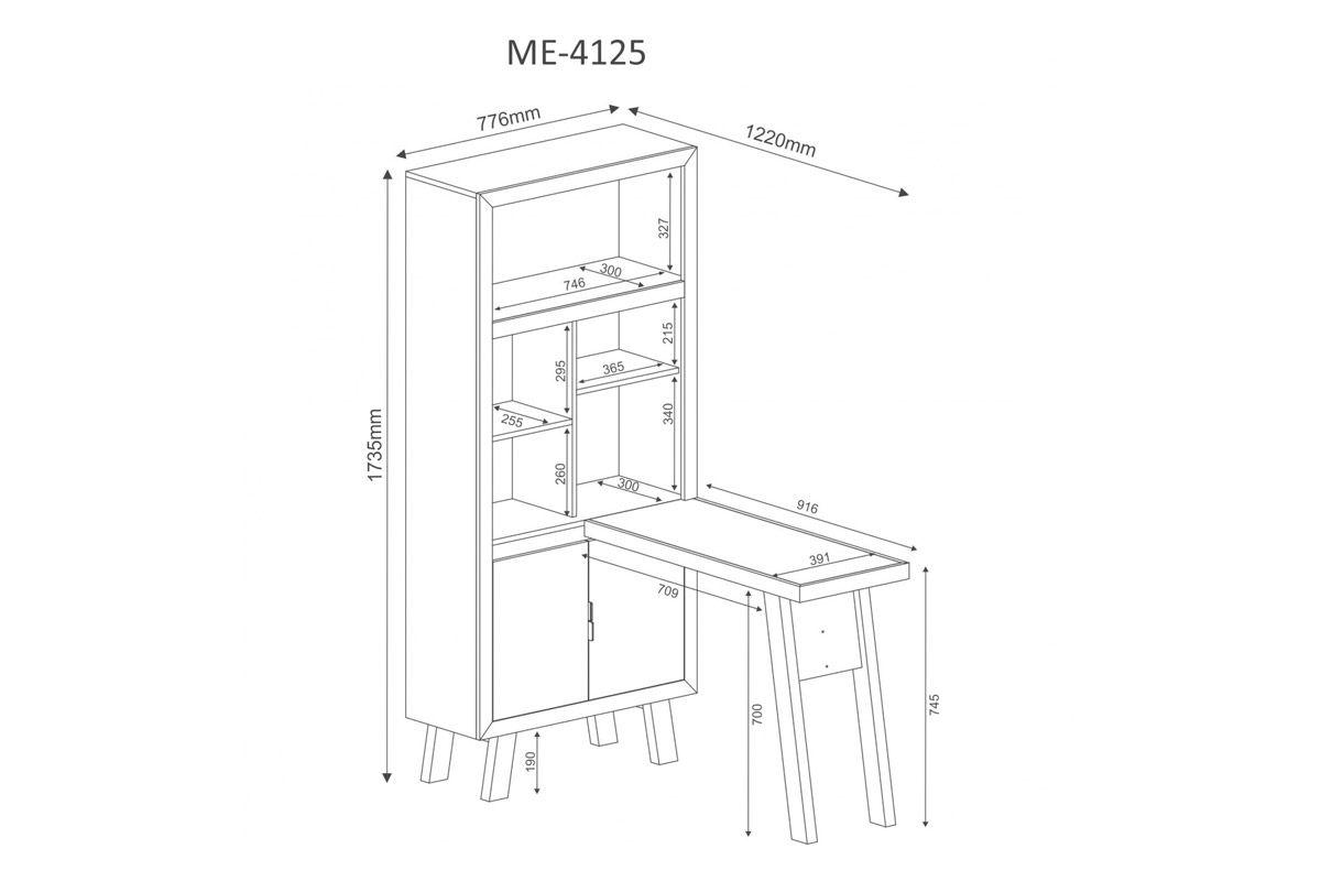Armário Escrivaninha Tecno Mobili ME-4125 - Cor Branco c/ Pés Branco