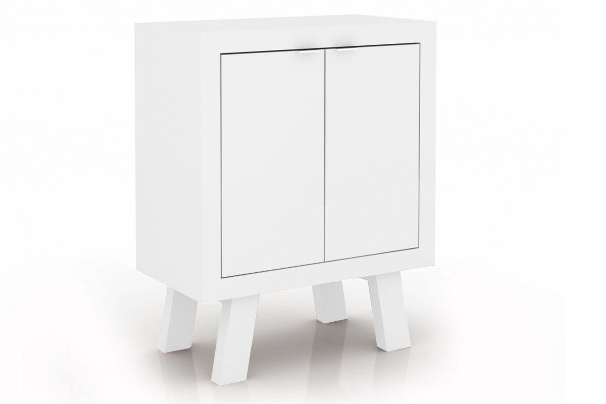 Balcão Escritório Tecno Mobili ME-4126Cor Branco c/ Pés Branco
